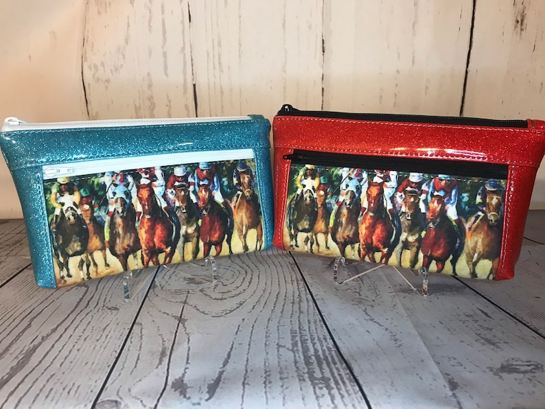 Thoroughbred Racehorse Horse Wristlet purse with front zip image 0