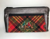 Rose smoke faux leather with foxhunt horses and riders. Zipper pouch with front zip pocket, double zipper clutch