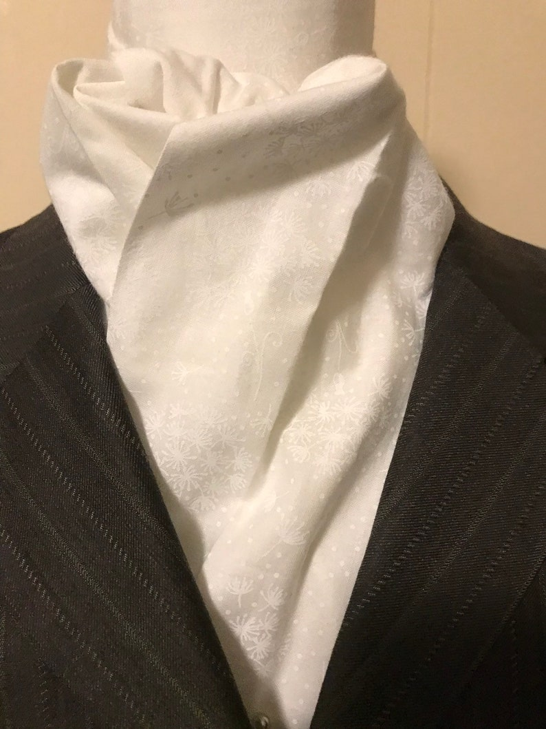Four Fold Stock Tie Formal White Stock Tie Traditional image 0