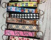 Key Fob, Black Cotton Canvas and Grosgrain Ribbon - choose pattern