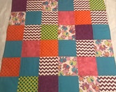 Modern Baby Quilt, Elephants and Bright Colors Quilt with Orange Thread, Gender Neutral Quilt, Crib Quilt, Homemade Quilt, Nursery Handmade