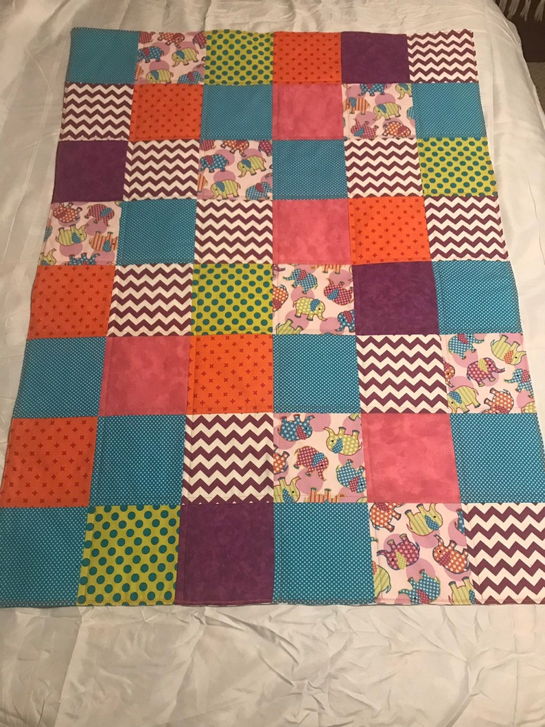 Modern Baby Quilt Elephants and Bright Colors Quilt with image 0