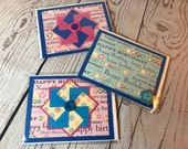 Happy Birthday Handmade Card 4.25 x 5.5 Blue Card with bright decoration, fun buttons, pinwheels