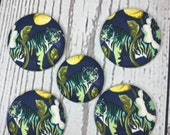 SET OF FIVE Fabric covered button magnets - beautiful tigers on blue magnets one1 1/8 inch diameter and four 1 7/8 inch diameter