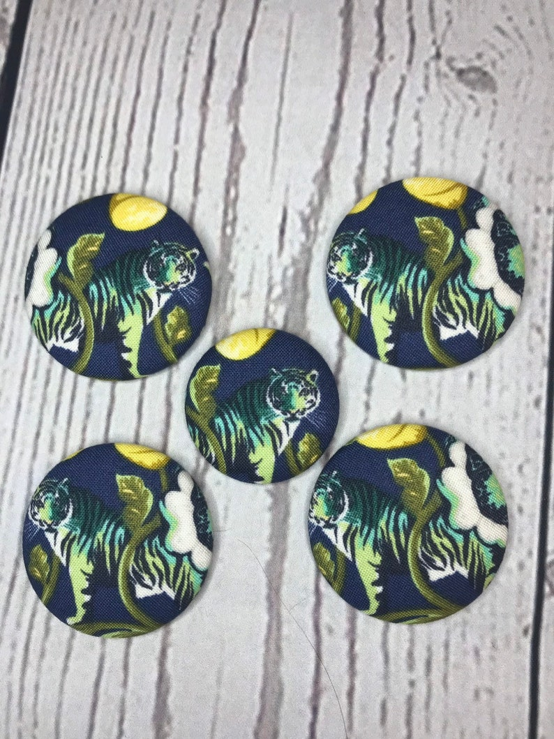 SET OF FIVE Fabric covered button magnets  beautiful tigers image 0