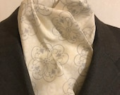 Four Fold Stock Tie, Foxhunting Traditional Stock Tie, Horse Show Stock Tie, Cream and Grey Medalions Elegant Pattern