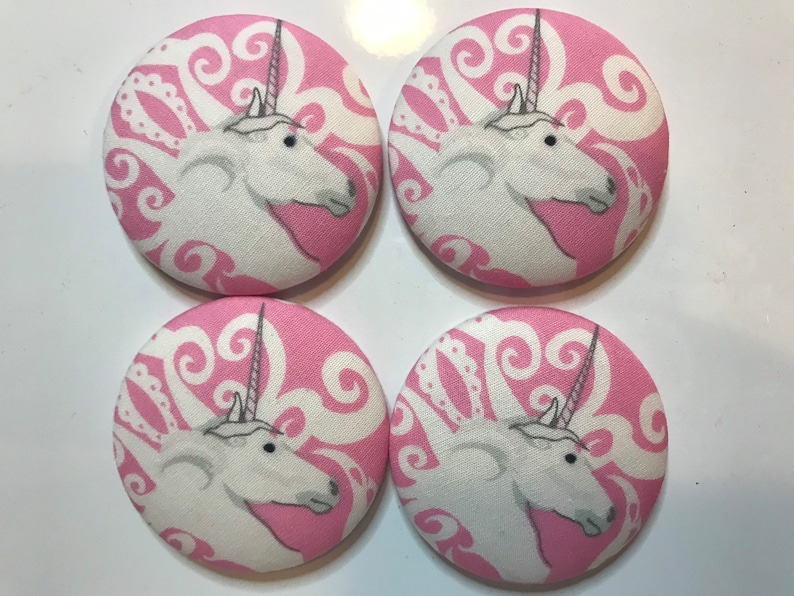 SET OF FOUR Fabric covered button magnets  white unicorn image 0