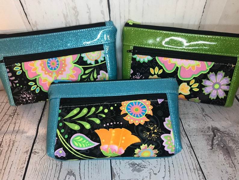 Wrislet or clutch purse Zipper pouch with front zip pocket image 0