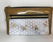 Zipper pouch with front zip pocket, gold bees on white marble, Gold glitter vinyl,  Double zipper clutch