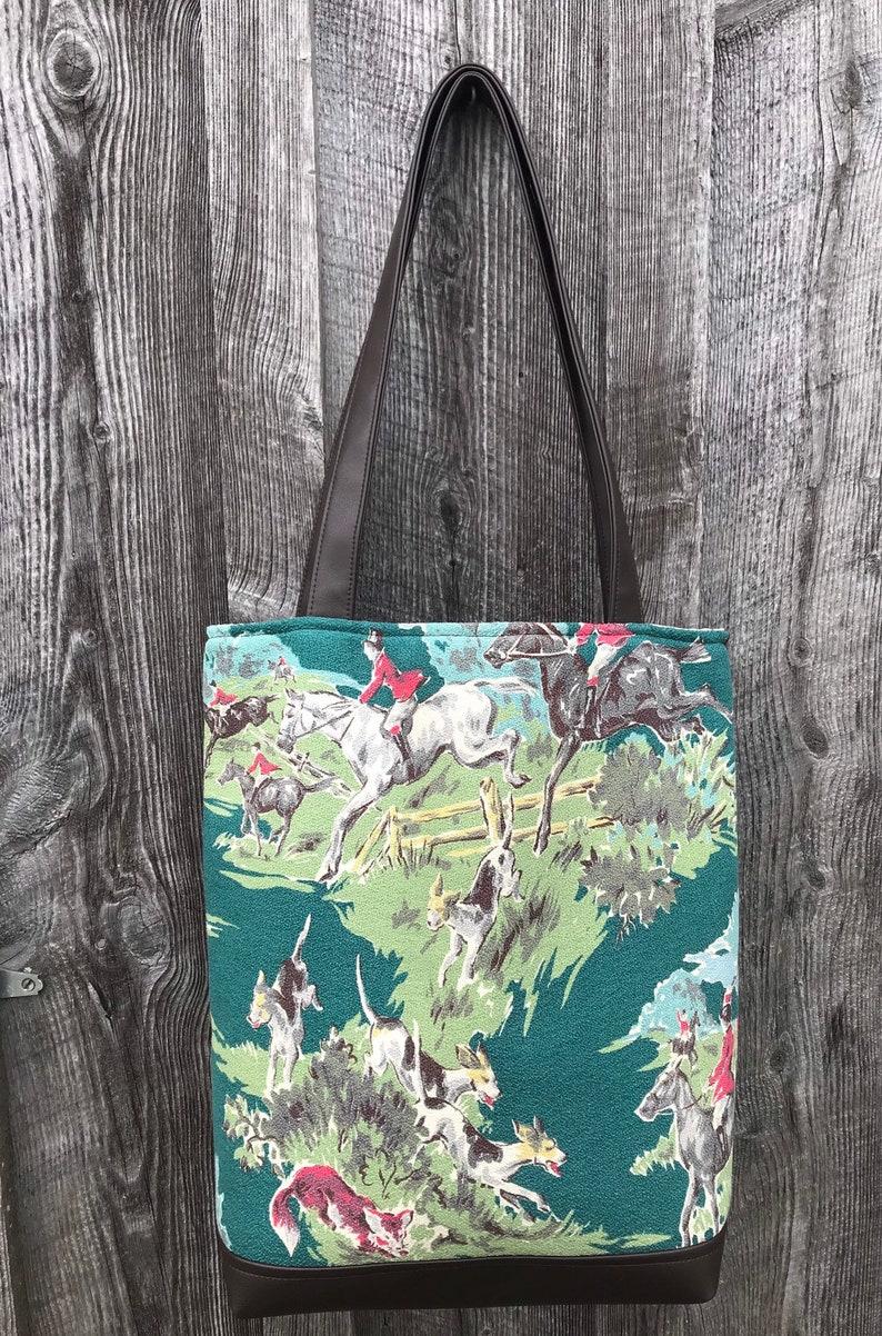 Large Tote bag with Vintage Foxhunt Barkcloth BROWN Vegan image 0