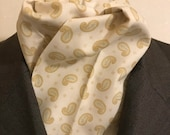 Four Fold Stock Tie, Foxhunting Traditional Stock Tie, Horse Show Stock Tie, Cream, Beige and Soft Green Paisley