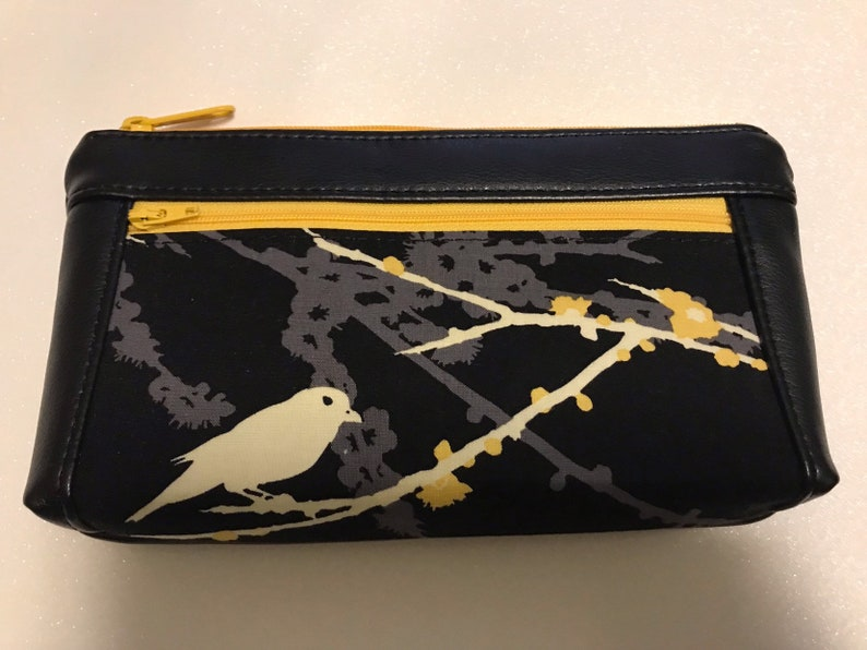 Zipper pouch with front zip pocket Black and Gold Bird on a image 0