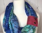 Infinity Scarf Batik Prints with Cork Fabric Cuff - Deep Blue, Purple, Rainbow Colors