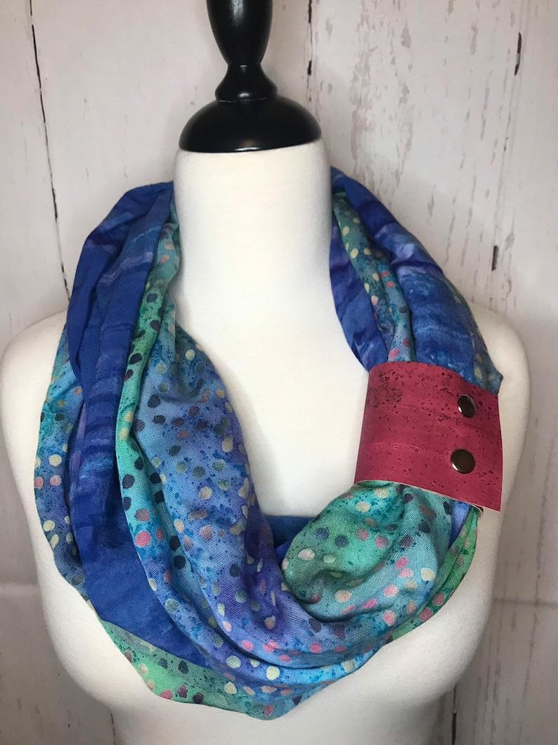 Infinity Scarf Batik Prints with Cork Fabric Cuff  Deep Blue image 0