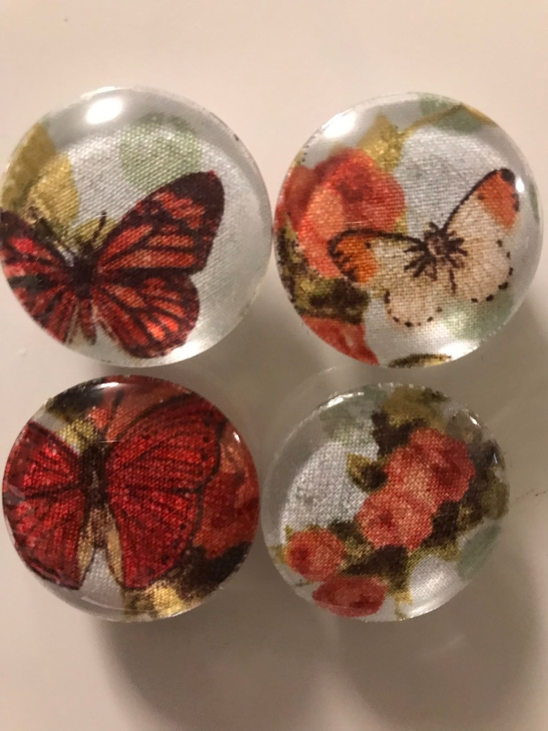 Fabric and Glass Magnet  Butterflies and flowers  set of image 0