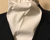 Four Fold Stock Tie, Formal White Stock Tie, Foxhunting Traditional Stock Tie, 78 inch long, White on White Dots, white swiss dots