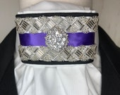 Purple Satin Ribbon and Beaded Trim, White Cotton Stock Tie, Pin Included, Dressage Stock Tie, Eventing Stock Tie