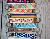 Key Fob, White Cotton Canvas and Grosgrain Ribbon - choose pattern