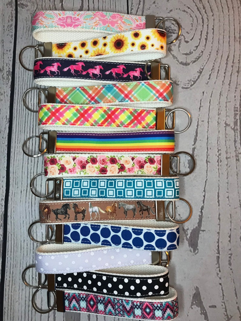 Key Fob White Cotton Canvas and Grosgrain Ribbon  choose image 0