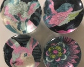 Fabric and Glass Magnet - Modern fox, rabbit, sparrow and floral blue, pink, green - set of four 1 1/8th inch diameter