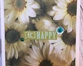Handmade Friendship, Encouragement, Thankful Card 5 x 7 Cream Card with daisies floral, blank inside