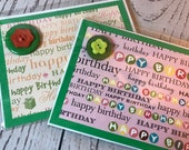 Happy Birthday Handmade Card 4.25 x 5.5 Green Card with bright decoration, fun buttons, pinwheels