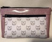 Zipper pouch with front zip pocket, Cat lover cute cats purse with pink Glitter Vinyl,  Double zipper clutch purse