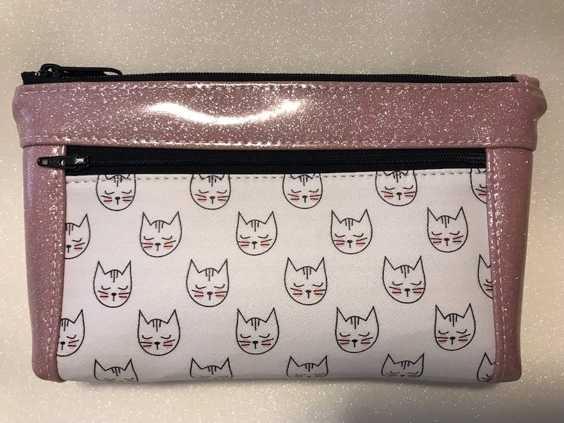 Zipper pouch with front zip pocket Cat lover cute cats purse image 0