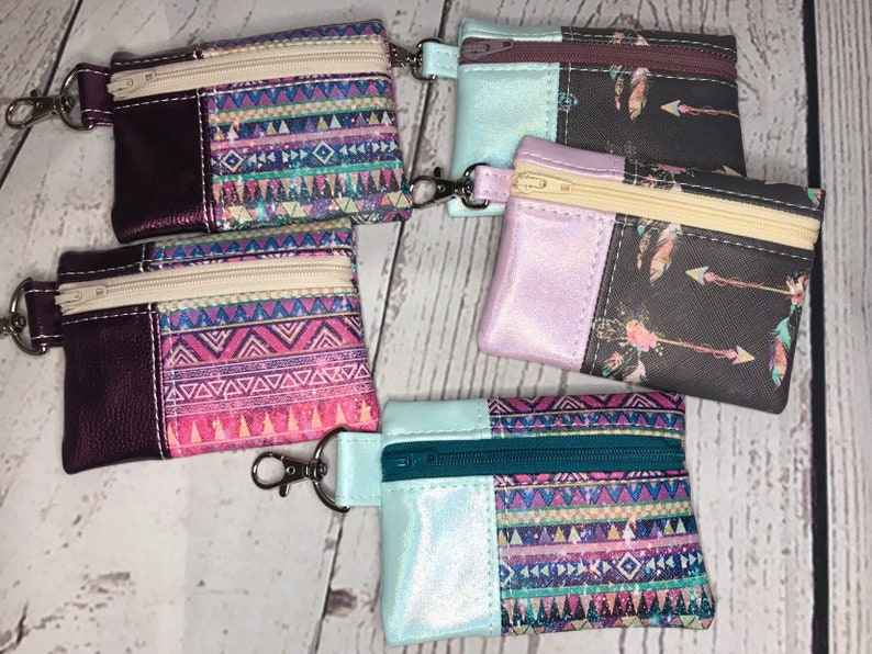 Mini Vinyl Snap on Pouch with Boho Colorful Patterns image 0
