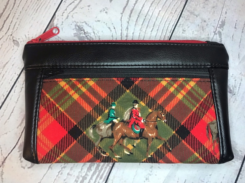 Black faux leather with foxhunt horses and riders on red image 0