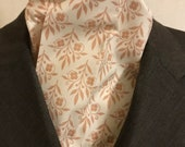 Four Fold Stock Tie, Foxhunting Traditional Stock Tie, Horse Show Stock Tie, Cream, Beige Floral Diamond Pattern