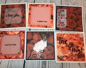 Handmade VALENTINES DAY Card 5.5 x 5.5 White Card with red roses or pink floral Sold individually - you choose