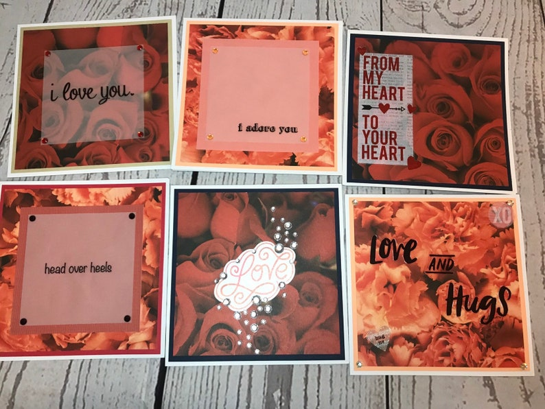 Handmade VALENTINES DAY Card 5.5 x 5.5 White Card with red image 0
