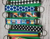 Key Fob, Green Cotton Canvas and Grosgrain Ribbon - choose pattern