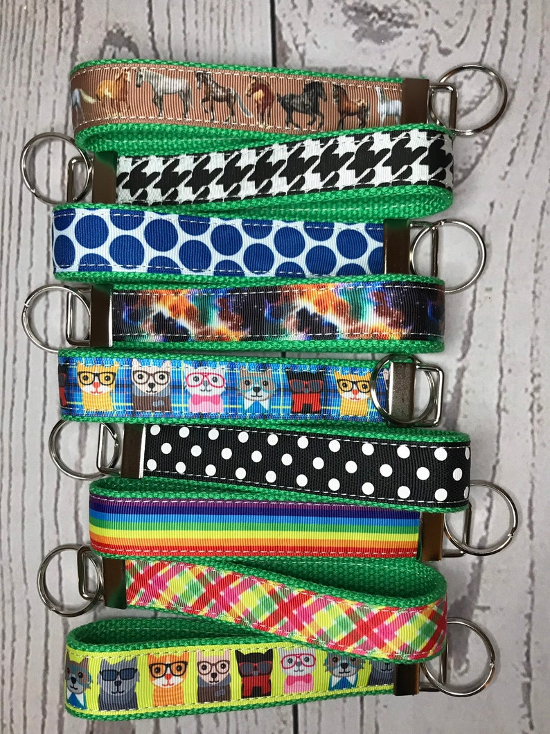 Key Fob Green Cotton Canvas and Grosgrain Ribbon  choose image 0