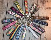 Key Fob, Dark Grey Cotton Canvas and Grosgrain Ribbon - choose pattern