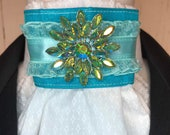Teal Mint And Organza Ribbon w AB on White on White print Stock Tie Pin Incld, Dressage Stock Tie, Eventing Stock Tie