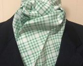 Four Fold Stock Tie, Foxhunting Traditional Stock Tie, Horse Show Stock Tie, Kelly Green Plaid