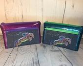 Colorful Jumper Horse Wristlet purse with front zip pocket, Equestrian double zipper pouch, clutch purse
