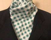 Dark Hunter Green Plaid Four Fold Stock Tie, Foxhunting Traditional Stock Tie, Horse Show Stock Tie