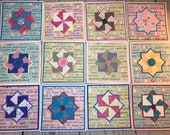 Happy Birthday Handmade Card 5.5 x 5.5 White Card with bright pinwheels, fun buttons, blank inside