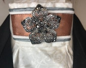 Rose Gold Satin Ribbon w trim on pearl metallic cotton Marcasite Stock Tie Pin Included, Dressage Stock Tie, Eventing Stock Tie, Horse Show
