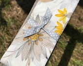 Four Fold Stock Tie, Foxhunting Traditional Stock Tie, Horse Show Stock Tie, Yellow and taupe flowers on off white