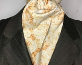 Four Fold Stock Tie, Foxhunting Traditional Stock Tie, Horse Show Stock, Cream and Beige Roses with metallic detail, High Quality Cotton