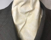 Four Fold Stock Tie, Foxhunting Traditional Stock Tie, Horse Show Stock Tie, Cream and Beige Elegant Pattern