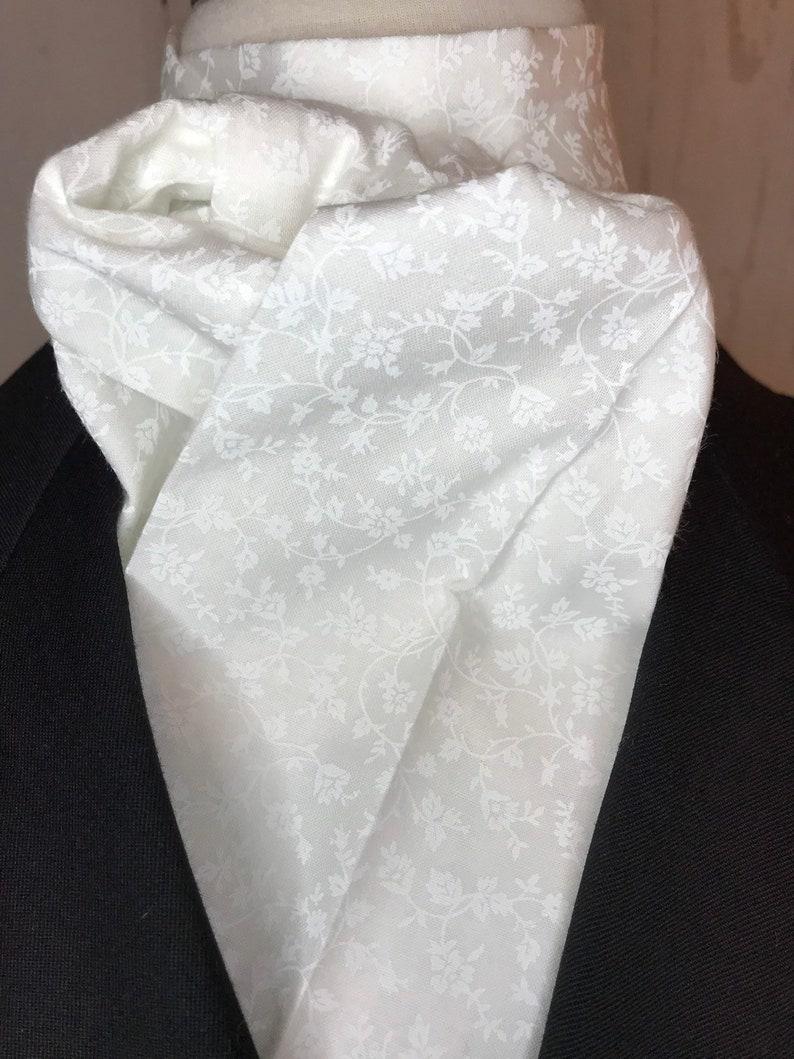 White on White Tonal Floral Four Fold Stock Tie Mens or image 0