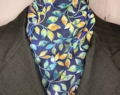 Four Fold Stock Tie, Foxhunting Traditional Stock Tie, Horse Show Stock Tie, Blue Green Rust Leaves with Gold Metallic