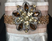 Rose Gold Satin Ribbon w Trim on Pearl Metallic Cotton Stock Tie Pin Included, Dressage Stock Tie, Eventing Stock Tie