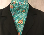 Four Fold Stock Tie, Foxhunting Traditional Stock Tie, Horse Show Stock Tie, Unique and Fun!! Robin Hood Red Fox on Teal