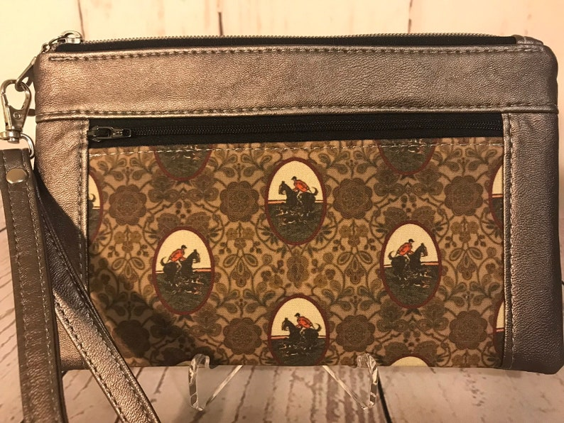 Rose smoke faux leather with foxhunt horses and riders image 0